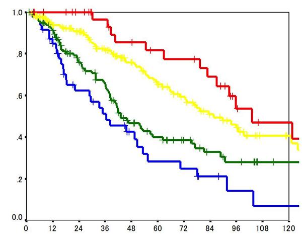 肝細胞がん手術後のステージ別生存曲線
